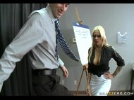 Busty blonde HR rep gives an employee a private lesson in sexual conduct view on tube8.com tube online.