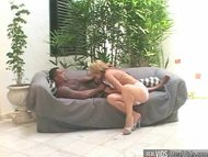 Horny blonde chick gets a...