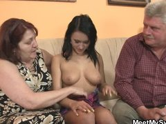 Nasty girl fucking with her BF s old parents