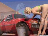 Lily Labeau bikini car wa...