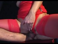 Brunette fucking in red s...