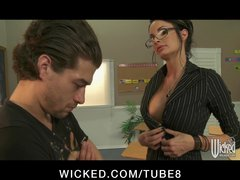 Hot busty school teacher Alektra punishes her student s big dick