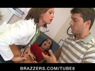 Big tit brunette doctor h...