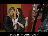 Young bigtit RockNRoll slut groupies fuck in threesome backstage