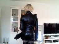 Sissy posing in sexy leat...
