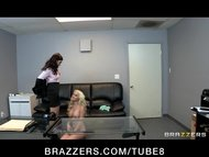 Hot young blonde teen is tricked by lesbian on fak...