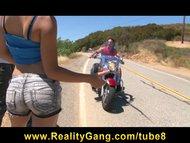 cheating young teen slut girlfriend fucks biker's big hard dick