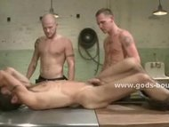 Dirty gay doctor and assistant using their clinic to fuck male pa
