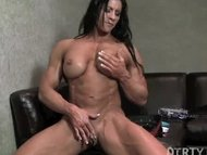 Muscular Brunette Plays W...