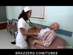 Horny bigtit brunette French nurse fucks patient s big harddick