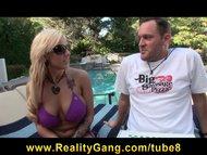 Horny bigtit bikini clad ...