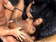 Horny black whore fucking...
