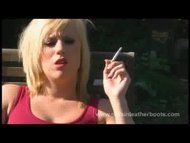Filthy blonde smoking in ...