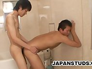Japanese studs having foreplay outdoors