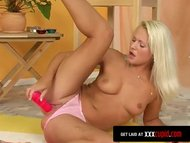 Blonde Cums With Big Dildo