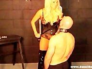 Blonde goddess punishes pathetic slave for wanking...
