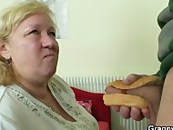 Huge granny tastes his co...