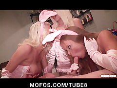 Four HOT blonde party girls get crazy at a Halloween orgy