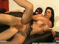 Busty brunette Mia in rough group sex