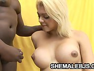 Latina shemale Giselle Lemos stuffing her mouth with black cock