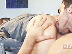 Two hung office workers suck and fuck till they blow huge loads