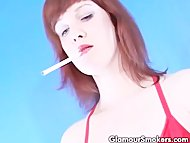 Brunette slut smoking whi...