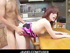 Hot  japanese wife Yuuna Akarino fucking over a kitchen table
