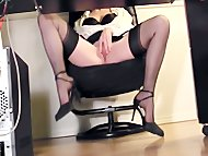 Leggy secretary fingering...