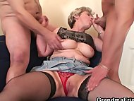 Old bitch takes two cocks...