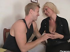 Old blonde rides his stiff rod