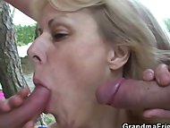 Two buddies bang granny n...