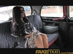 Amateur Brunette porno: FakeTaxi Super hot posh totty takes a backseat fucking