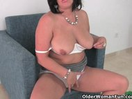 Busty mature mom in white...