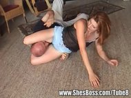 Mandy wrestles a guy her ...