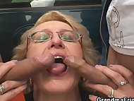 Slutty granny takes two c...