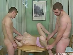 Pretty teen fucked by two guys