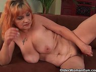 Hairy grandma with big ti…