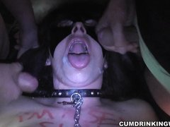 Wife creampied by 8 guys at Adult Theater