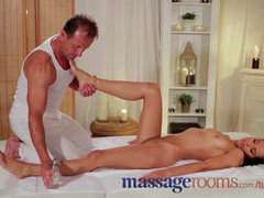 Massage Rooms Beautiful brunette oils up big cock before horny creampie