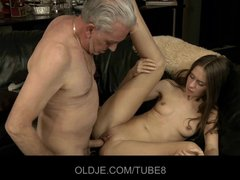 Assfucking Blowjob Fingering video: Teeny babe having anal sex with old guy