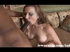redhead milf sucks and rides a big black cock for interracial sex fun