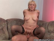 Grandma in stockings gets…