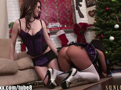 SunLustXXX Hardcore lesbian sluts toying on Christmas eve