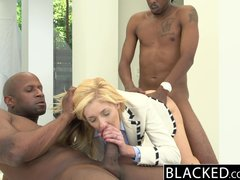 Handjob Facial Threesome vid: BLACKED 2 Big Black Dicks for Rich White Girl