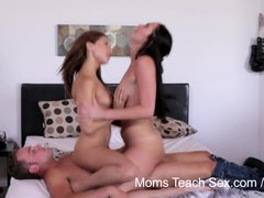 Brunette Threesome Milf video: Moms Teach Sex - Mom teaches sons girlfriend how to fuck