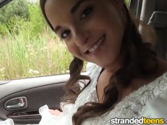 Blowjob Brunette Bareback video: Strandedteens - Runaway bride