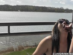 Blowjob Outdoor Brunette video: Slutwife gangbanged at holiday resort