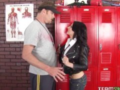 petite teen seduces the PE teacher and let him fuck her brains out