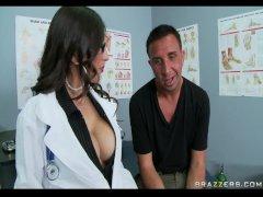 Busty Brunette Doctor sucks  swallows patient s cock for cum taste test