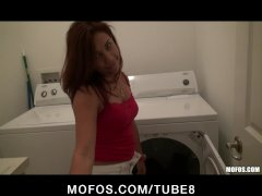 Hot sexy latin gf doing laundry gets fucked rough by bf s big cock